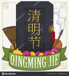 Dark Tombstone Decorated with Elements to Celebrate Qingming Festival, Vector Illustration Stock Photos, Cartoon, Dark, Creative, Illustration, Poster, Decor, Decoration, Illustrations