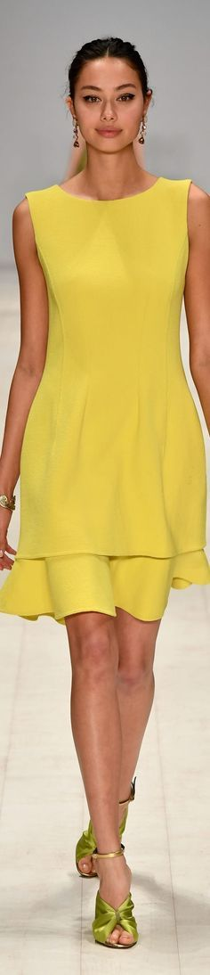 Oscar de la Renta resort 2017, Mercedes Benz Fashion Week Australia yellow dress @roressclothes closet ideas #women fashion outfit #clothing style apparel