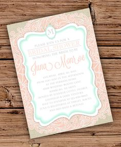 Burlap and Lace Bridal Shower Invitation/Colored Lace/Seafoam and Coral. $20.00, via Etsy.