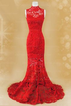 The red lace prom dress are fully lined, 8 bones in the bodice, chest pad in the bust, lace up back or zipper back are all available, total 126 colors are available. This dress could be custom made, there are no extra cost to do custom size and color.  Description of red lace prom dress 1, Ma...