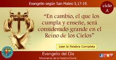 MISIONEROS DE LA PALABRA DIVINA: EVANGELIO - SAN MATEO  5,17-19