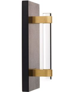 "The Nanz Co.'s 6""-long Lucite pull with satin-brass fittings gives doors a touch of minimalist elegance."