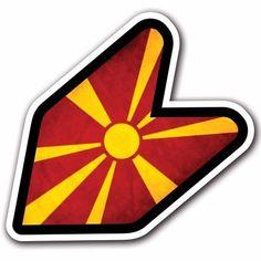 Grunge Macedonia 2 - JDM Wakaba Leaf Flag Decal Sticker Car Macbook Honda iPhone #CUSTOMI
