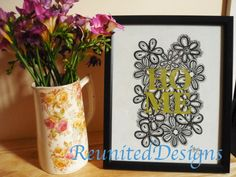 Beautiful Lace floral HOME hand drawn fabric by ReunitedDesigns, £12.00