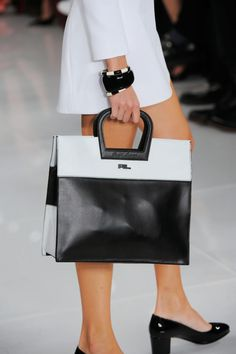 Black and white color block tote bag from Ralph Lauren Spring 2014