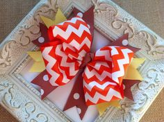 Fall Chevron Hair Bow Orange Brown and by sherbetwithsprinkles, $5.00