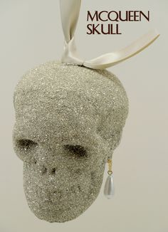 McQueen Skull Hanging Christmas Ornament - Luxury Holiday by ER.VG ELIOT RAFFIT.VINTAGE GLAMOUR Vintage Silver Glass Glitter Hand-Made in the USA