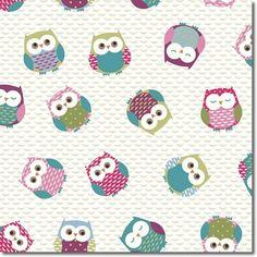Fryett's Fabrics - Laminate Owls Multi - laminated cotton fabric per metre Laminated Cotton Fabric, Pvc Fabric, Fabric Shop, Owl Kitchen, Oilcloth Tablecloth, Pvc Coat, Cute Backgrounds, Haberdashery, Room Themes