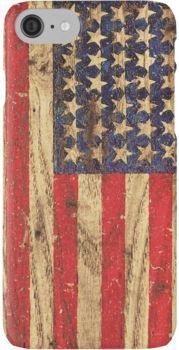 Vintage Patriotic American Flag on Old Wood Grain iPhone 7 Cases
