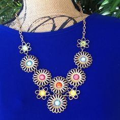 "Studio works gold tone fashion necklace NWT Studio works multi color fashion necklace. 24"" adjustable chain. NWT Studio works Jewelry Necklaces"