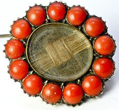 Antique Georgian Victorian Mourning Brooch, Hair & Red Coral