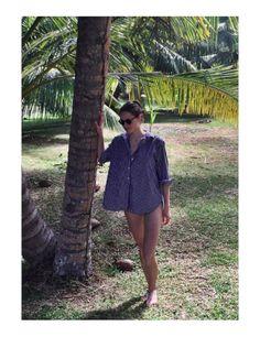 Anina Heé (@aninakou) wearing Blue-striped Capri Shirt  http://www.toteme-nyc.com/shop/ss16/capri-shirt?color=blue-striped