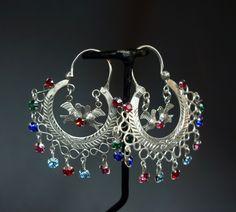 Antique Ethnic Mayan Guatemalan Silver Crescent Moon Love Bird Hoop Earrings