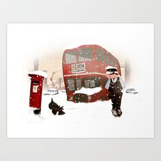 London in snow Art Print by Martynas Juchnevicius - $24.96