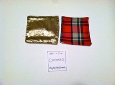 set of five coasters in gold and plaid by lorrabeth on Etsy, $10.00