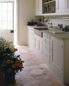 soft colors in kitchen with farmhouse sink