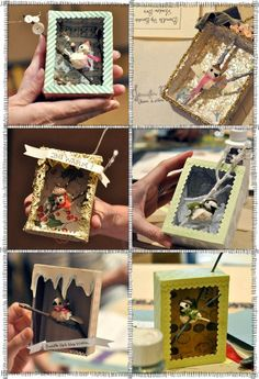 shadow box. use mini cereal boxes. i think i will make these with the kids as ornaments to send family this year!