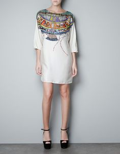 TUNIC WITH PRINTED NECKLINE -  ZARA United States
