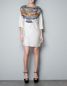 TUNIC WITH PRINTED NECKLINE - Dresses - Woman - ZARA United States