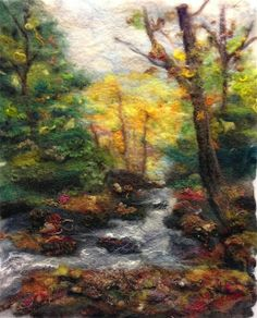 Back in October my felting group took a landscape painting class using wool as paint taught by Diane Christian. This is the photograph . Felt Fabric, Fabric Art, Needle Felted Animals, Felt Animals, Felt Wall Hanging, Needle Felting Tutorials, Wet Felting Projects, Felt Pictures, Wool Art