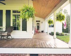 porch paint ideas Front Porch The front porch is made of x 6 pressure treated pine stained with Super Deck SW 3542 Charwood. The bead board ceiling is currently a natural finish, with plans to stain to allow the dark/golden undertones to bleed through Creative Deck Ideas, Deck Stain Colors, Ground Level Deck, Interior Paint Colors For Living Room, Porch Paint, Porch Ceiling, Pole Barn Homes, Building A Deck, Deck Design