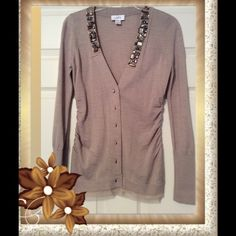 Loft jeweled camel colored sweater Loft jeweled lightweight sweater, camel colored, size small, excellent condition, no jewels missing. LOFT Sweaters Cardigans