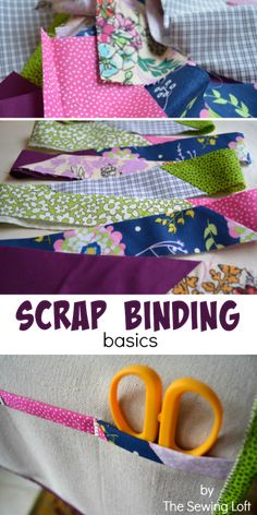 Sewing Quilts Turn leftover fabric scraps into quilt binding. How to make scrap binding. The Sewing Loft - Learn how to transform leftover fabric scraps into useable quilting binding. Scrap binding is perfect for charity quilts, small projects and more. Quilting Tips, Quilting Tutorials, Quilting Projects, Sewing Tutorials, Sewing Patterns, Beginner Quilting, Bag Patterns, Scrap Fabric Projects, Fabric Scraps