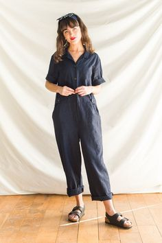 Olive Clothing - Navy Linen Blend Boiler Suit Joanie Clothing, Olive Clothing, Boiler Suit, Playsuit, Work Wear, Navy, My Style, Full Body, Invite