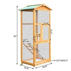 Wooden Large Bird Cage Pet Play Covered House Ladder Feeder Stand Outdoor Perch With