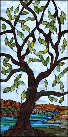 Stained Glass Tree and Mountains Decorative Window Film