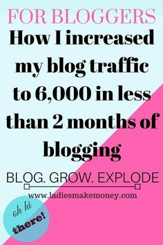How I increased blog traffic to 6,000 in less than 2 months of blogging! Want to succeed with your blog business. Find out how to get more traffic!