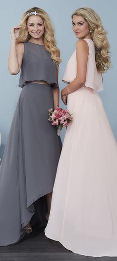 SPRING 2017 // Style 22760 | Two-piece gown featuring a hi-low chiffon skirt and a fun and flowy chiffon crop top. #ChristinaWuCelebration #Bridesmaids #ChristinaWu #SpringWedding