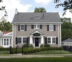 new ideas house exterior paint colors porticos Colonial House Exteriors, Colonial Exterior, Grey Exterior, Exterior Shutters, Exterior Design, Farmhouse Shutters, Ranch Exterior, Modern Colonial, Bungalow Exterior