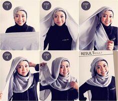 Tutorial Hijab Segi Empat Terbaru 2015