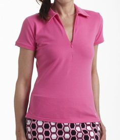 Golftini Hot Pink Short Sleeve Zip Polo #activewearoutfits