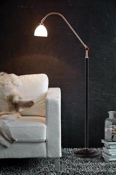 Spirit copper/white glass by Herstal Desk Lamp, Table Lamp, Cool Floor Lamps, Wall Lights, New Homes, Spirit, Living Room, Mirror, Lighting