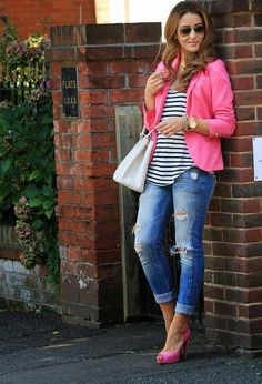 Black and white stripes cute blouse with pink coat and light grey leather hand bag and blue denim stylish jeans and golden watch and pink high heels pumps