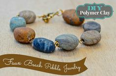 Faux Beach Pebble Jewelry by Debi's Design Diary - link to several free video tutes.  #Polymer #Clay #Tutorials