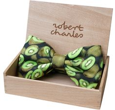 Kiwi Bow Tie Gift Wooden Box - Fruit Bow-ties Collection.