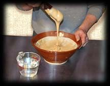 recipe for rice paste resist used in Japanese stenciling & dyeing, includes  one part bran (komon nuka): one part flour (mochiko): one part water (calx, table salt, and glycerine will also be added) and a lot of kneading, steaming and other hard work.