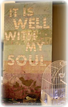 Decoupage. so beautiful. i would like to have these words either in my house or on my body.