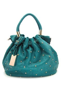 Dotted Reagan Satchel in Teal