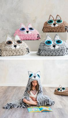 Crocheted cat blanket with a Gehäkelte Katzendecke mit Kapuze! Crocheted cat blanket with a hood! Knit Or Crochet, Crochet For Kids, Crochet Crafts, Crochet Projects, Crotchet, Ravelry Crochet, Beginner Crochet, Crochet Ideas, Diy Projects