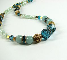 Turquoise crystal beaded necklace Single strand by ShopPretties, $70.00