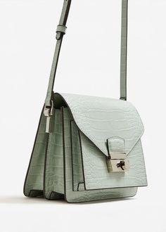 Croc-effect cross body bag - Women Crocodile, Mini Crossbody Bag, Leather Keychain, Shades Of Green, Fashion Bags, Vintage Outfits, Shoulder Bag, Handbags, Green Outfits