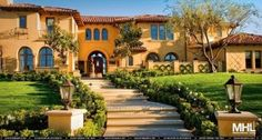 mexican style roofing on homes | Mexican style home with terra-cotta roof tiles. beautiful landscaping ...