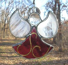 LT Stained glass rose Angel sun light by UniqueStainedGlass, $10.50