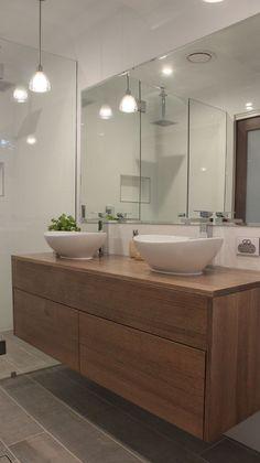 Small Wooden Vanity Ideas For Modern Bathroom Bathroom Toilets, Bathroom Renos, Laundry In Bathroom, Bathroom Inspo, Bathroom Colors, Bathroom Renovations, Bathroom Inspiration, Small Bathroom, Ensuite Bathrooms