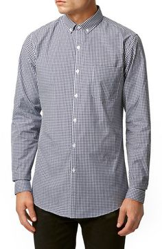 Topman Slim Fit Navy Gingham Shirt available at #Nordstrom