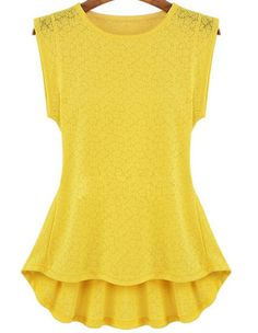 Yellow Floral Lace Ruffle Blouse pictures $15.33